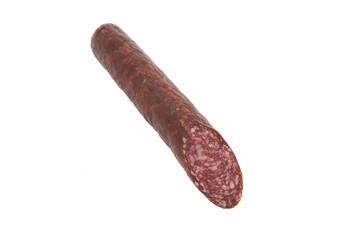one salami sausage on white background