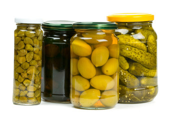 jars of pickles, capers and olives