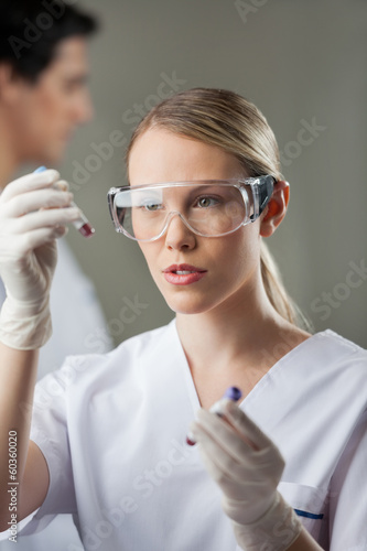 Lab Technician Analyzing Blood Samples