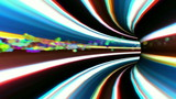 vj, multicolored tunnel. 3d, stereoscopic, anaglyph