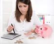 Frau überprüft ihre Finanzen oder Ersparnisse - Mathematik