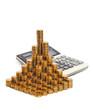 Монеты и калькулятор. Концепция роста доходов