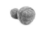 Two coil gray wool on white background