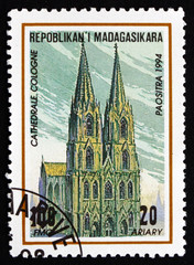 Postage stamp Malagasy 1995 Cologne Cathedral, Germany