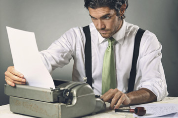 Writer focused on his letter