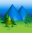 Blue Mountains 3 D vector background