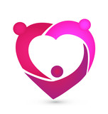 Pink heart teamwork logo vector