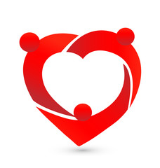 Teamwork people heart logo