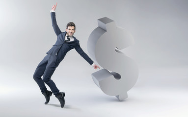 Happy man with dollar mark