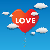 Vector heart shaped balloon flying over the sky poster