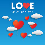 Vector heart shaped balloons flying over the sky poster