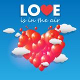 Vector balloons forming a heart flying over the sky poster