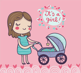 cartolina nascita bambina