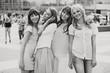 Black&white photo of the cheerful girls