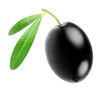 One black olive isolated on white