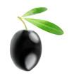 One black olive isolated on white