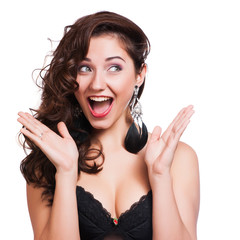 Studio Shot of Funny Surprised Woman
