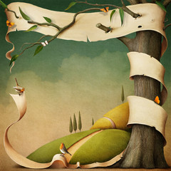 Poster or illustration with banner and autumn landscape