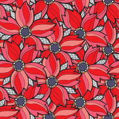 Vector red floral seamless pattern