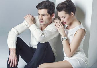 Elegant couple having a break