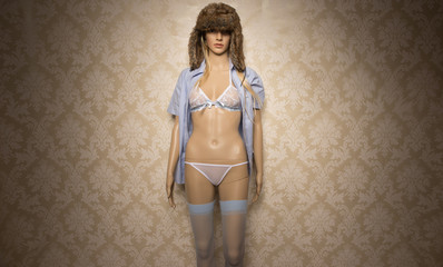 Store mannequin in blue and pink lingerie