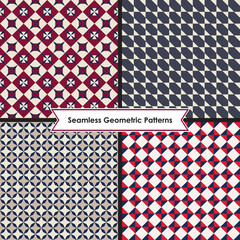 Set of seamless monochrome geometric patterns