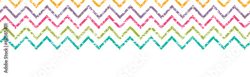 Vector colorful grunge chevron horizontal border seamless