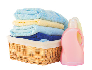 Clothes with detergent in basket