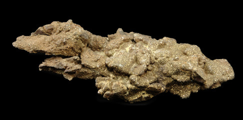 Chalchopyrite isolated on black background