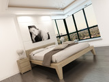 Fototapety Luxury white bedroom interior with portrait of a woman