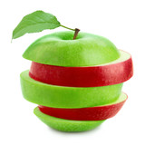 Apple with green leaf