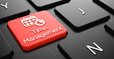 Time Management on Red Keyboard Button.