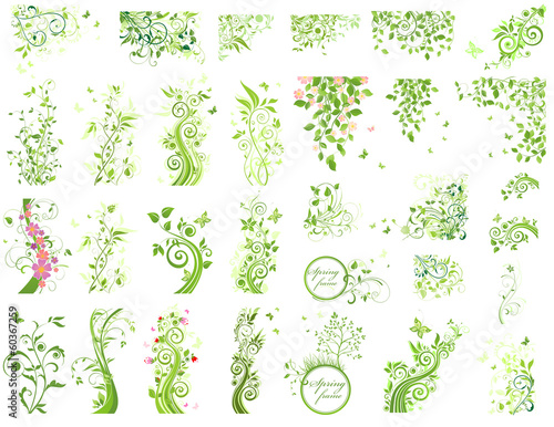 Set of green floral design elements