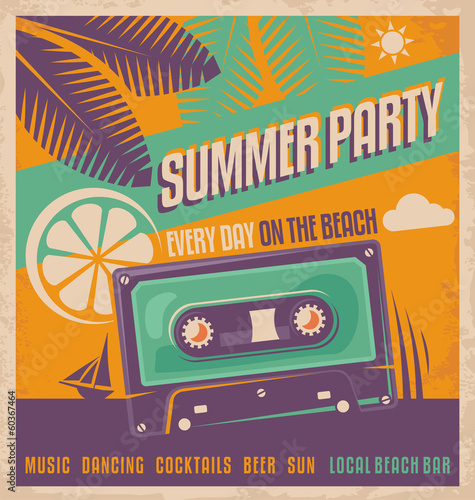 Summer party retro poster vector design