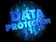 Data Protection on Dark Digital Background.