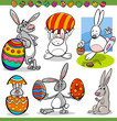 easter bunnies set cartoon illustration