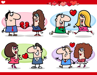 valentine couples in love cartoon set