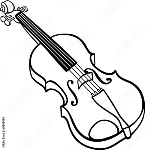 violin cartoon illustration coloring page