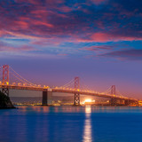 Bay Bridge at sunset in San Francisco California