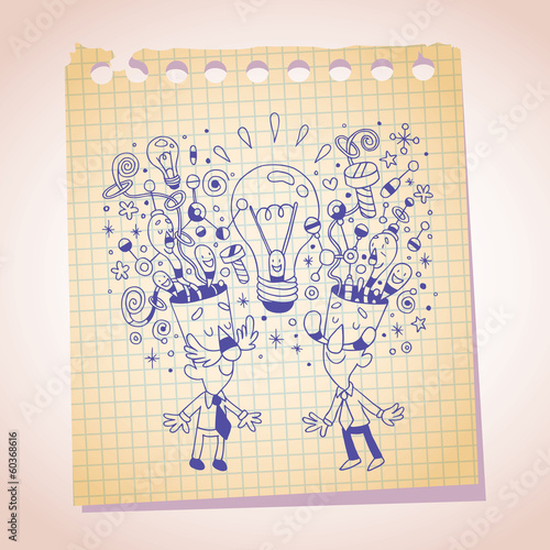 idea concept note paper cartoon sketch