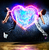 Young couple jumping