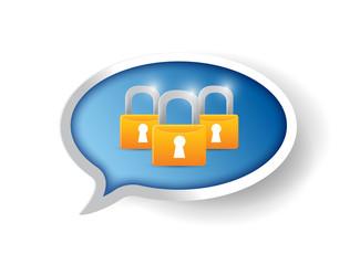 locks message bubble illustration design