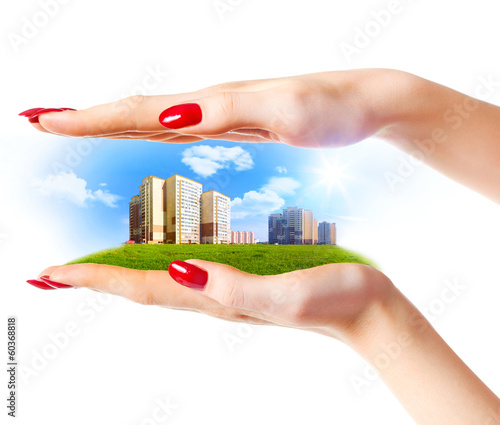 New buildings in woman hands