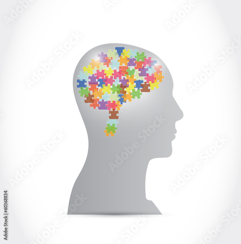 puzzle pieces brain and head illustration design