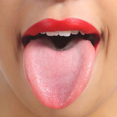 Front view of a woman tongue