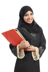 Happy saudi Arab student holding folders