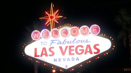 Las Vegas Sign, crash pan at night