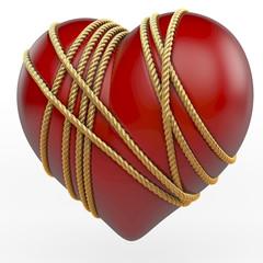 Rotes, glänzendes Herz von goldenem Seil gebunden, 3d Rendering
