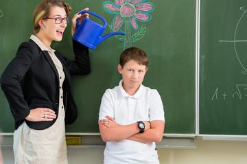 Lehrerin motiviert Schüler vor Klasse in  Schule an Tafel
