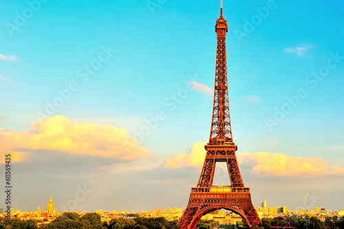 Eiffel Tower With Invalides In Background